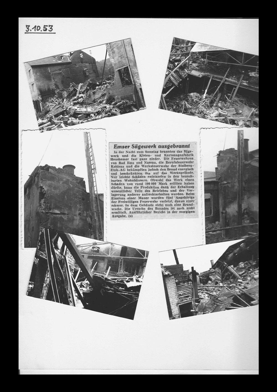 HEUCHEMER VERPACKUNG || Brandstiftung im Sägewerk Bad Ems 1953 - Zeitungsausschnitt