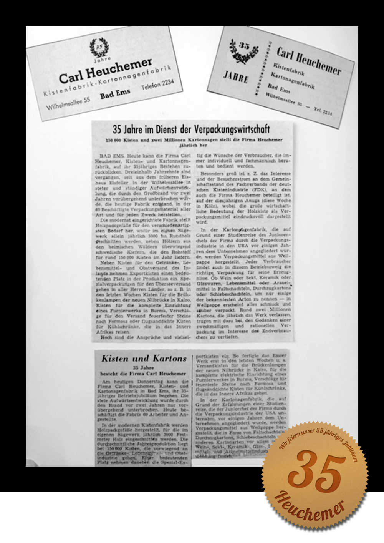 HEUCHEMER VERPACKUNG || 35 jähriges Betriebsjubiläum 1955 - Zeitungsausschnitte