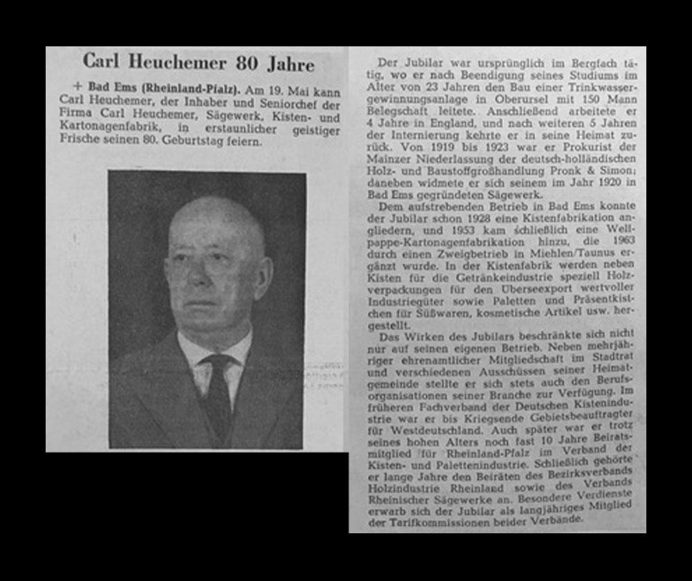 HEUCHEMER VERPACKUNG || Zeitungsausschnitt 19. Mai 1967 - Carl Heuchemer 80 Jahre