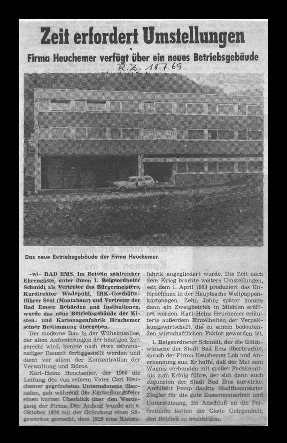 HEUCHEMER VERPACKUNG || Zeitungsausschnitt Rhein-Zeitung 18.07.1969 - Neues Betriebsgebäude Bad Ems