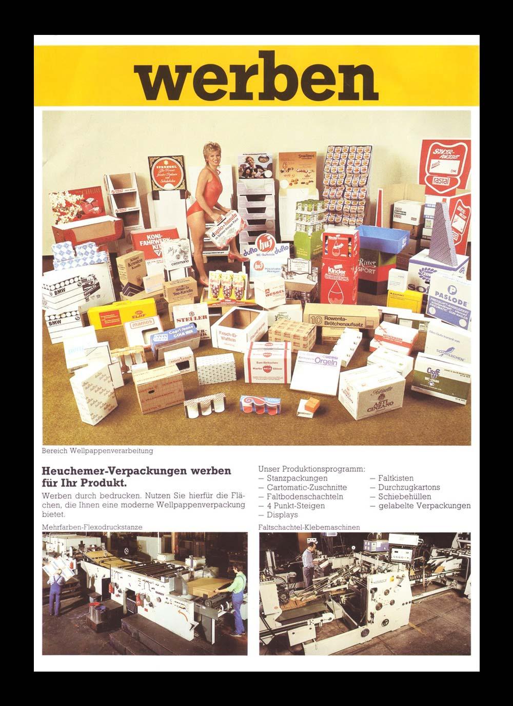 HEUCHEMER VERPACKUNG || Anzeigenwerbung 1970 - Verpackungen aus Wellpappe