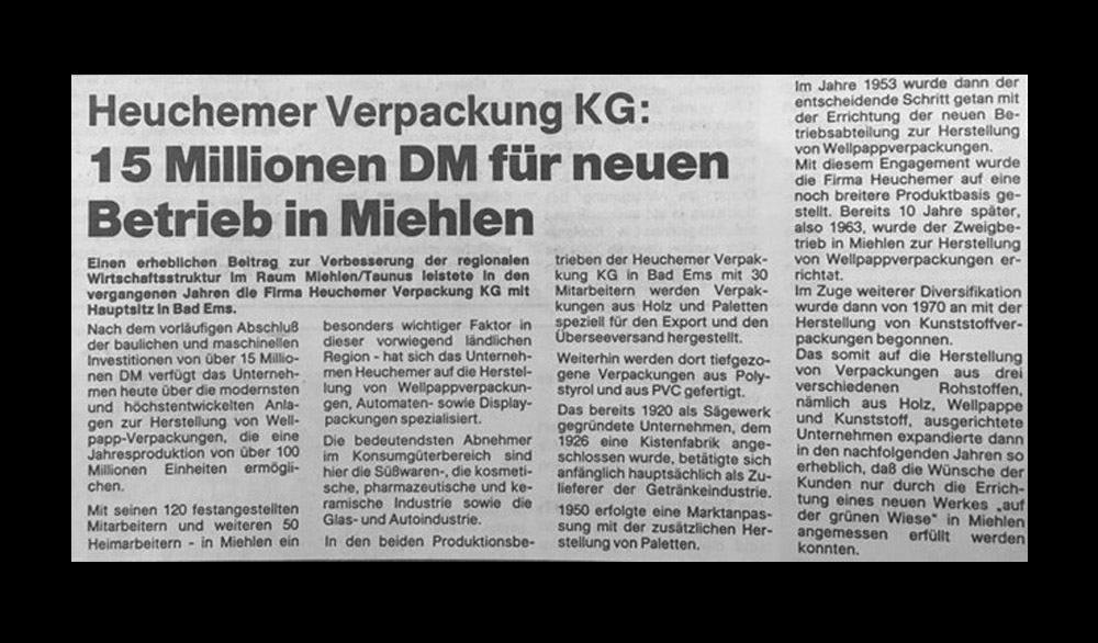 HEUCHEMER VERPACKUNG || Zeitungsausschnitt 1980 - 15 Millionen DM für neuen Betrieb in Miehlen