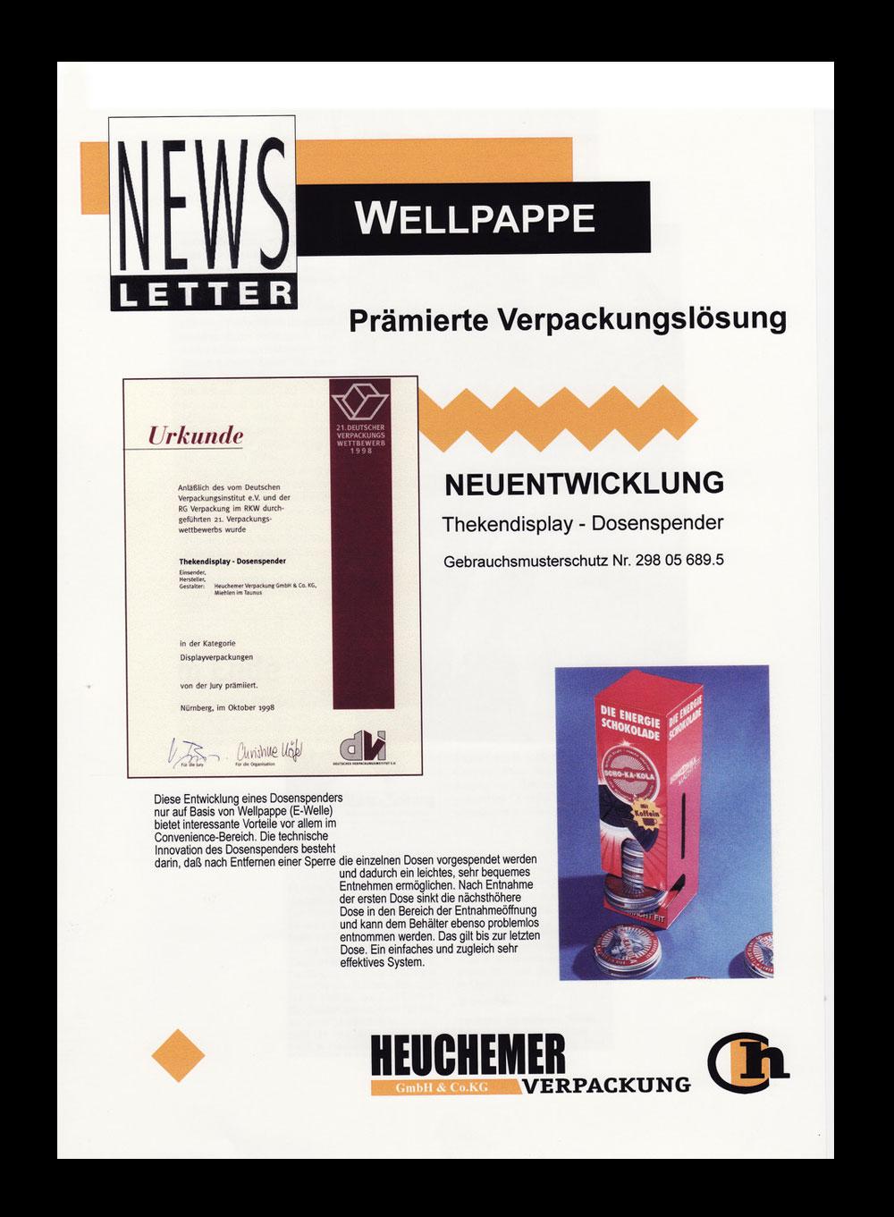 HEUCHEMER VERPACKUNG || Prämierte Verpackungslösung aus Wellpappe 1990 - Thekendisplay - Dosenspender