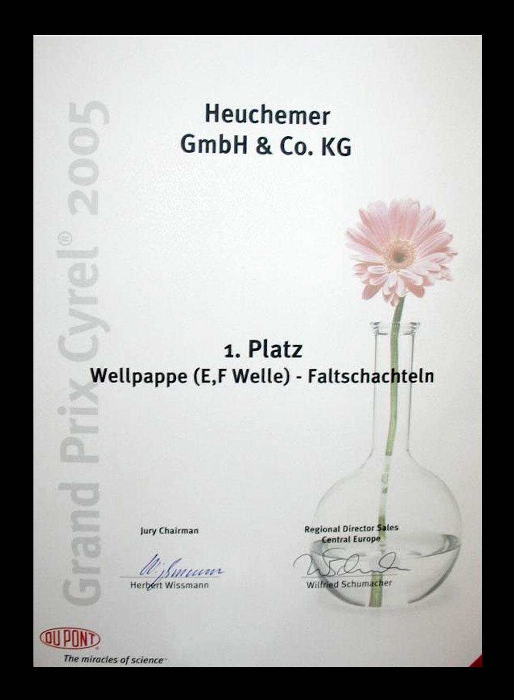 HEUCHEMER VERPACKUNG || Urkunde Grand Prix Cyrel 2005 - 1. Platz Wellpappe (E,F Welle) - Faltschachteln