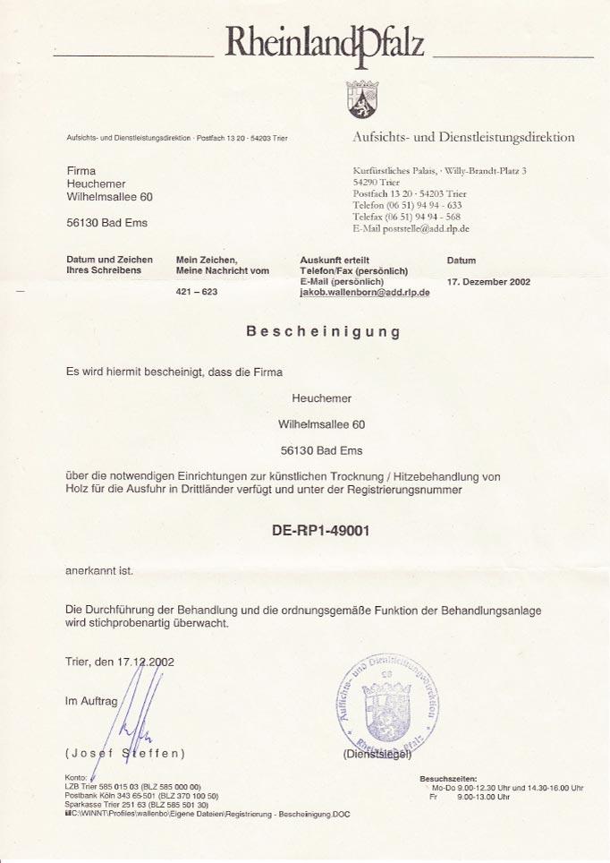HEUCHEMER VERPACKUNG ||Bescheinigung IPPC